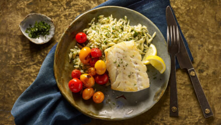 Pan-Seared Alaska Cod with Lemon-Parsley Orzo