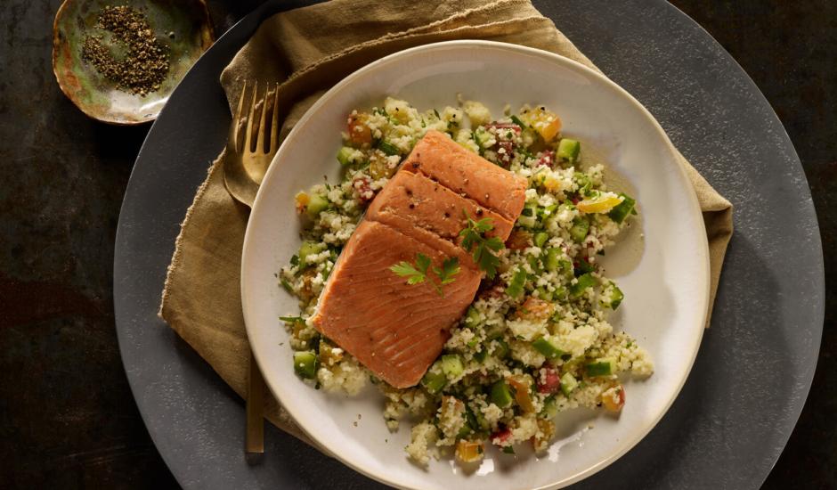 Air-Fried Alaska Salmon with Israeli Salad Couscous