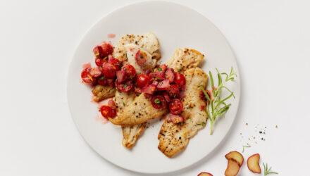 Pan-fried Alaska Pollock with Tomato-Rhubarb Relish