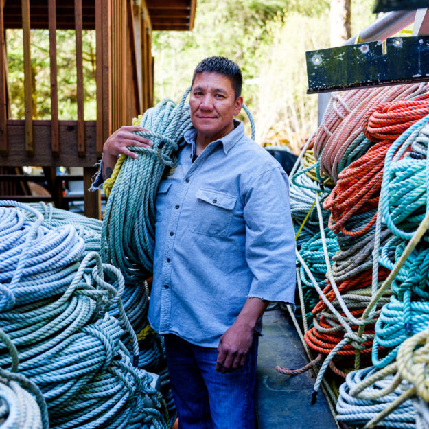 Fisherman with piles of line