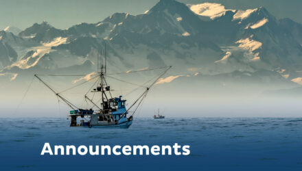 fishing boat and mountain with words announcements overlayed