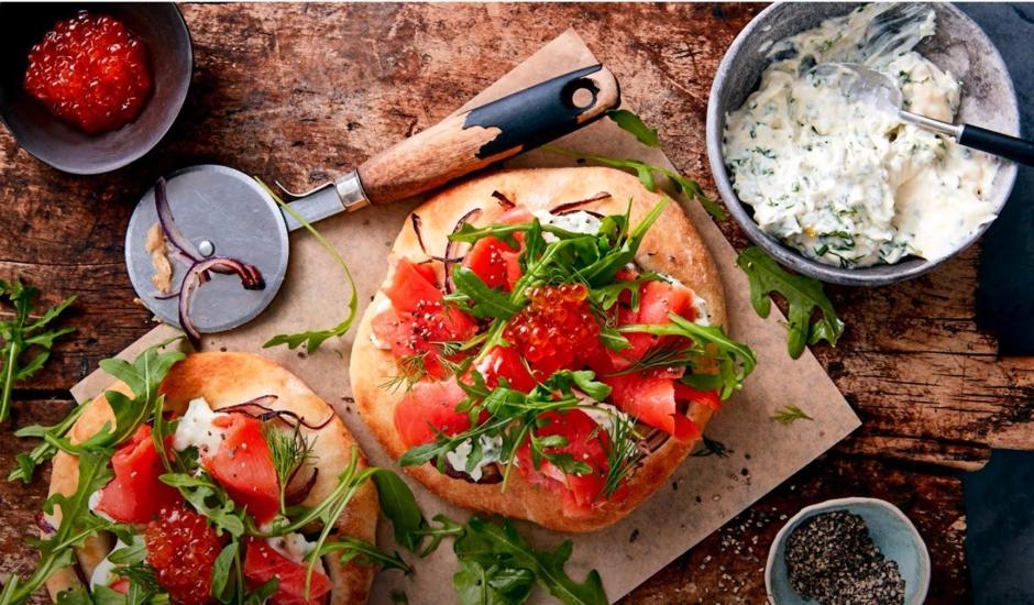 Pizzetta Bianco with Alaska Smoked Salmon and Salmon Roe 1