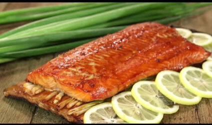 Planked Alaska Sockeye Salmon with Asian Glaze
