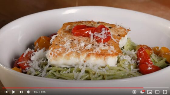 Alaska Halibut with Pistachio Pesto Pasta and Roasted Tomatoes - Alaska from Scratch