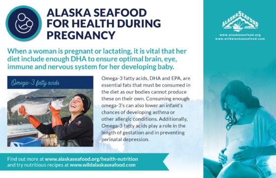 Alaska Seafood for Health During Pregnancy Nutrition Facts Postcard 5