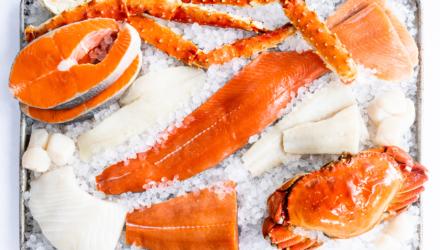 raw Alaska seafood species on ice